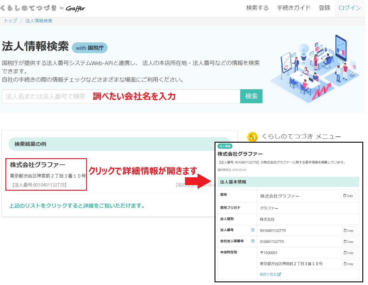 法人情報検索 with 国税庁(くらしのてつづき)
